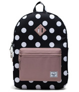 Herschel Supply Heritage Youth XL Polka Dot Black and White/Ash Rose