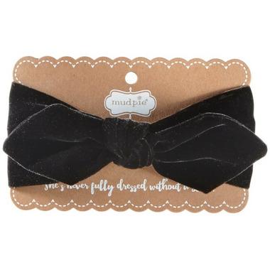 Mud Pie Black Velvet Bow Headband