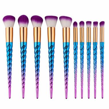 Zoe Ayla 10 Piece Essential Brush Set Unicorn Style Blue