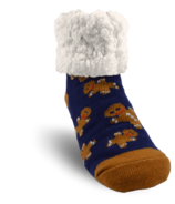 Pudus Classic Slipper Sock Gingerbread Navy Kids