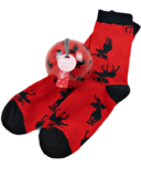 Little Blue House Women's Socks in Ornament Moose on Red