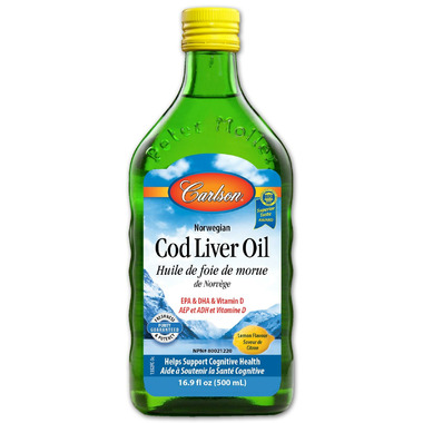Carlson Norwegian Cod Liver Oil Lemon Flavour Large Bottle