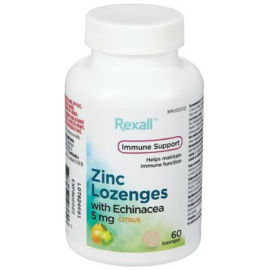 Rexall Zinc Lozenges with Enchinacea 5mg Citrus