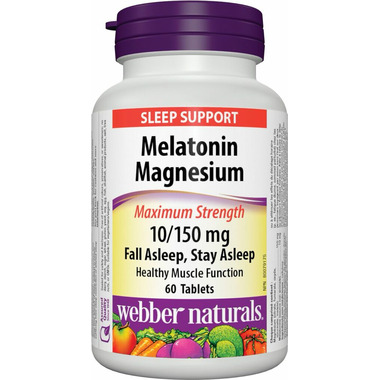 Webber Naturals Melatonin Magnesium Maximun Strength 10/150 mg