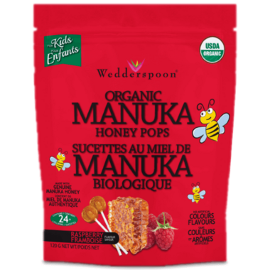 Wedderspoon Organic Manuka Honey Pops Raspberry