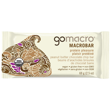 GoMacro MacroBar Protein Pleasure Peanut Butter + Chocolate Chip