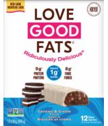 Ensemble de deux boîtes de barres collations à saveur de cookie et crème Love Good Fats