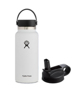 Hydro Flask Wide Mouth Bottle & Straw Lid White Bundle