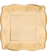 Elise Embossed Square Banquet Plate Gold