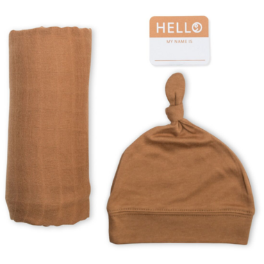 Lulujo Hello World Blanket & Knotted Hat Tan Brown