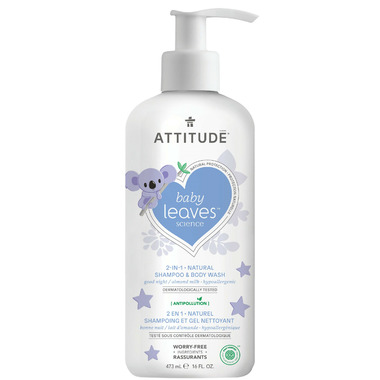 ATTITUDE Baby Leaves 2-in-1 Night Shampoo & Body Wash Almond Milk