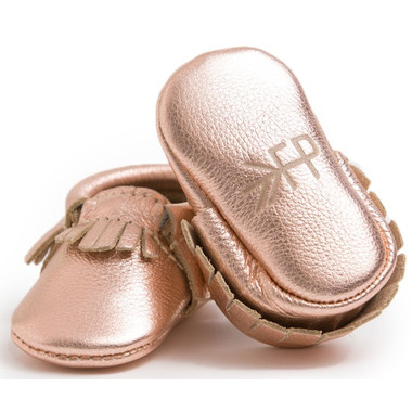 Freshly Picked Newborn Moccasins Rose Gold