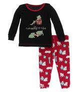 Kickee Pants Print Long Sleeve Pajama Set Midnight Naughty or Nice