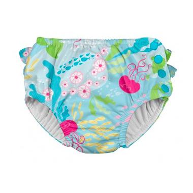 iPlay Ruffle Snap Reusable Absorbent Swimsuit Diaper Aqua Coral Reef