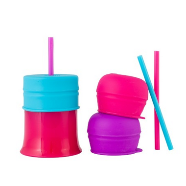 Boon Snug Straw With Cup Pink Multi