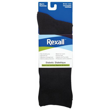 Rexall Men\'s Bamboo Dress Crew Diabetic Socks