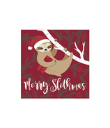 Harman Merry Slothmas Cocktail Napkin Red