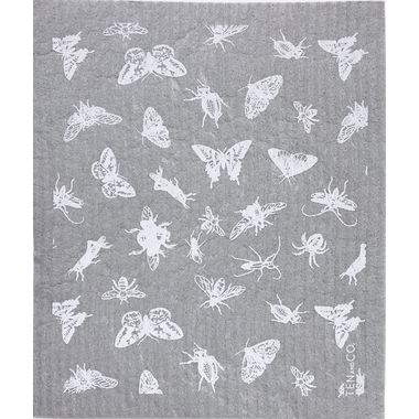Ten & Co. Swedish Sponge Cloth Gray/White Bugs