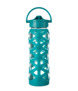 Lifefactory Glass Water Bottle with Axis Straw Cap & Ultramarine Sleeve
