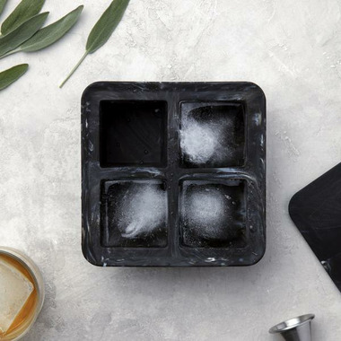 W&P Design Extra Large Ice Cube Tray Marble Black