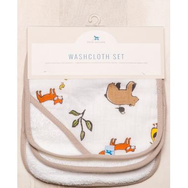 Little Unicorn Cotton Muslin Wash Cloth Set Forest Friends