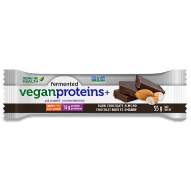 Genuine Health Fermented Vegan Proteins+ Bars Dark Chocolate Almond