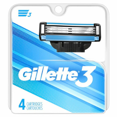 Gillette3 Men\'s Razor Blade Refills 4 Count