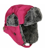 Calikids Water Repellant Nylon Shell & Faux Fur Hat Fuschia