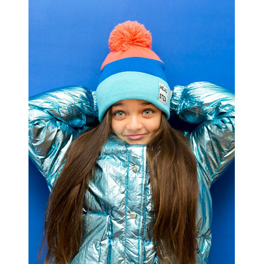 Headster Kids Tricolour Blue Tuque