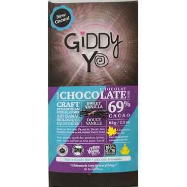 Giddy Yoyo Organic Chocolate Bar Sweet Vanilla