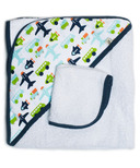 JJ Cole Hooded Towel & Washcloth White Vroom