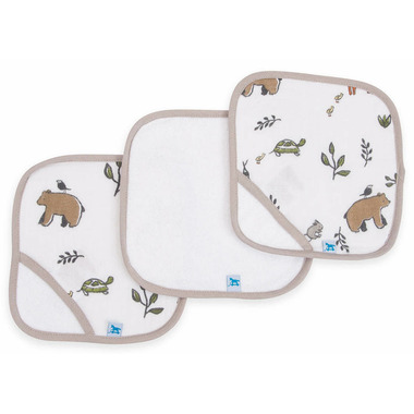 Little Unicorn Cotton Muslin Wash Cloth Set Forest Friends