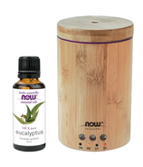 NOW Solutions Ultrasonic Real Bamboo Oil Diffuser and Ecualyptus Oil Bundle