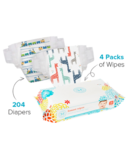 The Honest Company Trains & Giraffes Print Diapers & Wipes Bundle Size 3