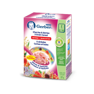 Gerber 5 Grains Cherries & Berries Toddler Cereal (Add Water)
