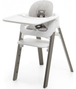Stokke Steps High Chair Complete Hazy Grey with White Seat and Grey Cushion