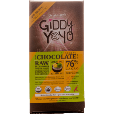 Giddy Yoyo Raw Organic Chocolate Bar Limon Salt