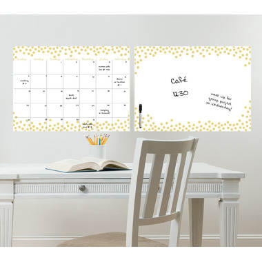 WallPops Gold Confetti Dry Erase Monthly Calendar & Message Board