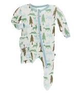 Kickee Pants Print Footie with Zipper Natural Woodland Holiday