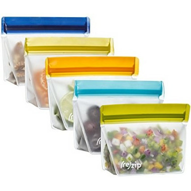 (re)zip Stand-Up 8oz Reusable Snack Bags Set