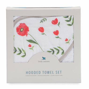 Little Unicorn Cotton Hooded Towel & Wash Cloth Set Summer Poppy