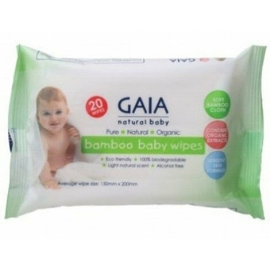 Gaia Natural Baby Bamboo Wipes Travel Size