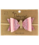 Baby Wisp First Birthday Headband Pink Glitter