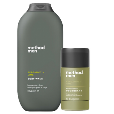 method Men Bergamot + Lime Aluminum Free Deodorant and Body Wash Bundle