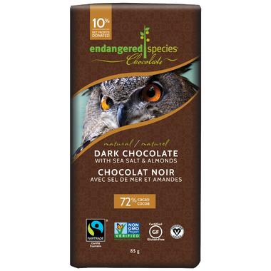 Endangered Species Dark Chocolate Bar with Sea Salt and Almonds