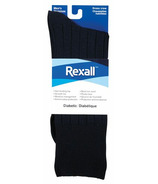 Rexall Men's Ribbed Dress Crew Diabetic Socks