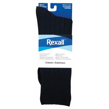 Rexall Men\'s Ribbed Dress Crew Diabetic Socks