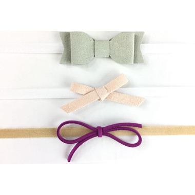 Baby Wisp Headband Mixed Bows Gift Set Grey Pink Magenta