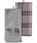 Domay Kitchen Towel Set Plaid Bear