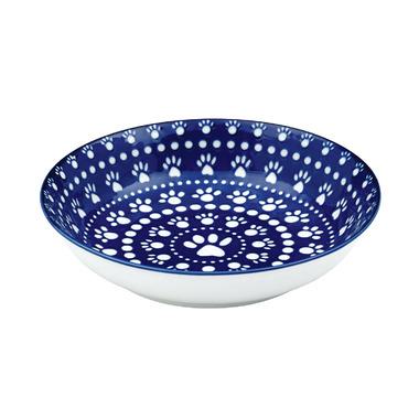 Ore Pet Speckle & Spot Shallow Bowl in Bandana Blue
